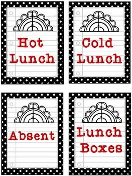 Lunch Count Signs - Black, White, and Red Colored