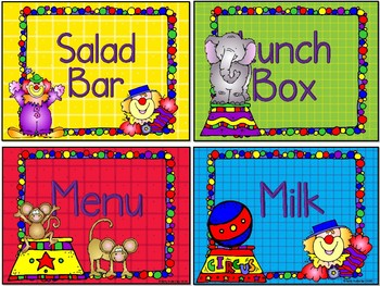 Lunch Count Signs Circus Theme