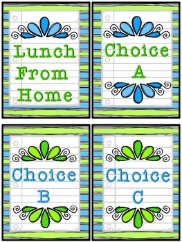Lunch Count Signs - Green and Blue Colored