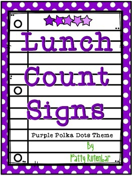 Lunch Count Signs - Purple Colored