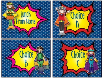 Lunch Count Signs - Super Heros