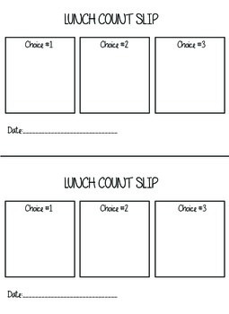 Lunch Count Slip