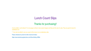 Lunch Count Slips