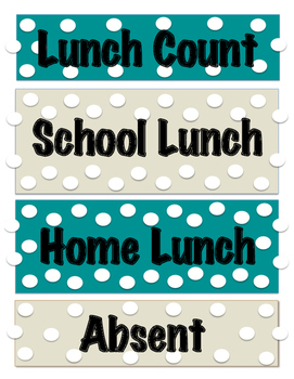 Lunch Count Teal and Cream