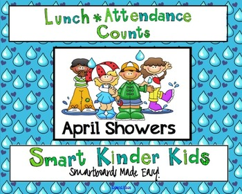 Lunch Count and Attendance for Smartboard - April Showers