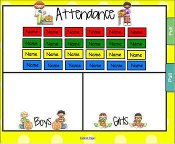 Lunch Count and Attendance for Smartboard - Pumpkin Patch Theme