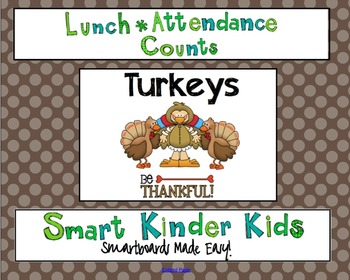 Lunch Count and Attendance for Smartboard - Thanksgiving T