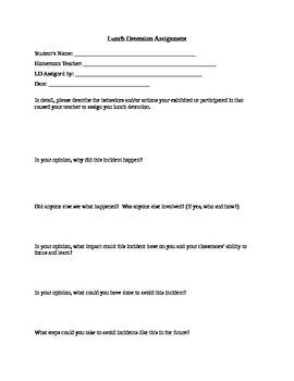 Lunch Detention Assignment Sheet