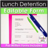 Middle School Editable Lunch Detention Form in Word Document