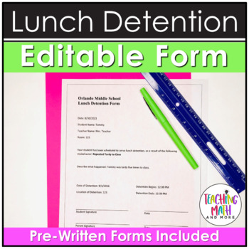 Middle School Editable Lunch Detention Form in Word Document by ...