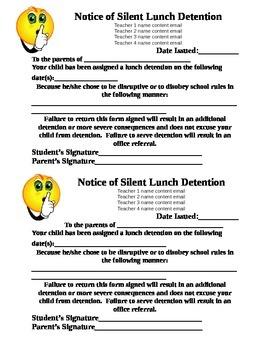 Lunch Detention Sheet