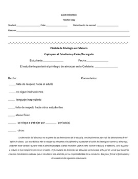 Lunch Detention form in spanish and english