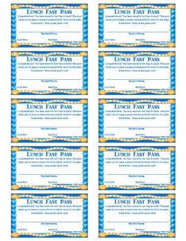 Lunch Fast Pass (A Quick and Easy Reward For Middle & Upper Grades)
