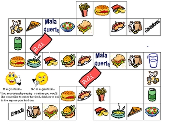 Lunch Foods Board Game and Reference sheets