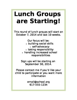 Lunch Group Flyer for Families