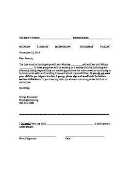 Lunch Group Letter Template