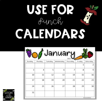 Lunch Menu 2018-2019 Calendar