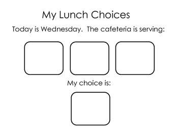 Lunch Menu Communication Picture Choices; Autism; Special Education;
