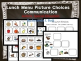 Lunch Menu Communication Picture Choices; Autism; Special Education;