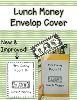 Lunch Money Envelope Cover {Editable}