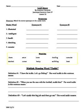Journeys Common Core 5th - Lunch Money Supplemental Packet for the SLP