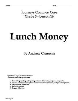 Journeys Common Core 5th - Lunch Money Supplemental Packet