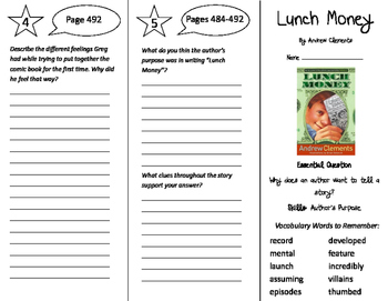 Lunch Money Trifold - Journeys 5th Grade Unit 4 Week 1 (2011)