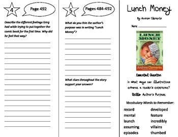 Lunch Money Trifold - Journeys 5th Grade Unit 4 Week 1 (2014, 2017 Common Core)
