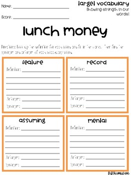 Lunch Money Vocabulary Grids