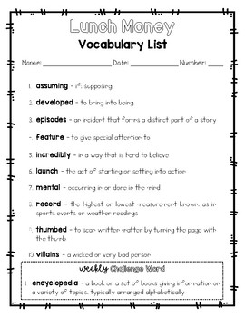 Lunch Money - Vocabulary Packet