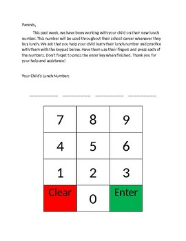 Lunch Number Practice Letter