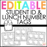Editable Student ID Number Tags   Lunch Number Cards