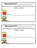 Lunch Number and Bus Number Homework Practice