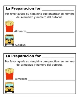 Lunch Number and Bus Number Homework Practice in SPANISH