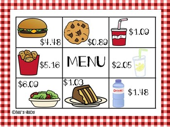 Lunch Order: Products of Decimals Activity