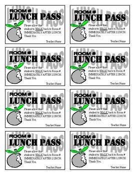 lunch pass template by allen s classroom teachers pay teachers