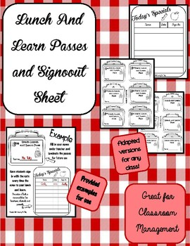 Lunch Passes and Sign Out Sheet for Students
