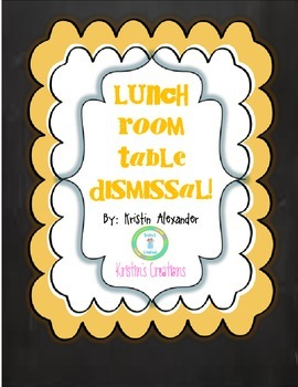 Lunch Room Dismissal Cards