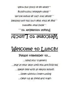Lunch Rules Table Tents