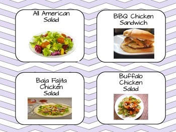 Lunch Selection Chart - purple chevron
