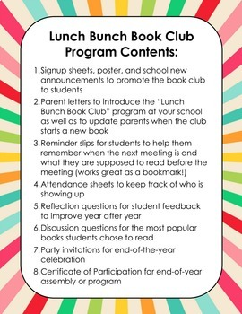 Lunch Time Book Club Program in the Library or Classroom