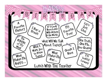 Lunch With the Teacher Placemats (Birthday Theme Kit 2)