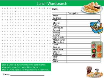 Lunch Wordsearch Sheet Starter Activity Keywords Food Dinner Meals