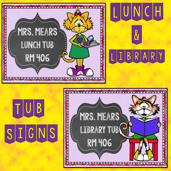 Lunch and Library Tub Signs