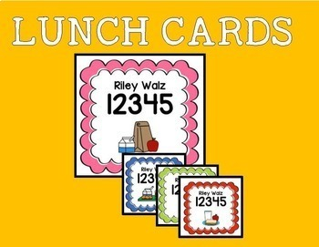 Lunch cards for Gabrielle (3 in x 4 in)