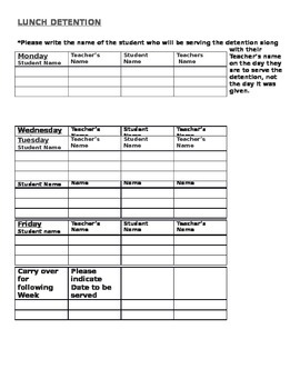 Lunch detention chart