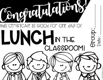 Lunch in the Classroom Reward Certificate
