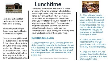 Lunch rules for Middle School Students; Expected Behaviors; Hidden Rules