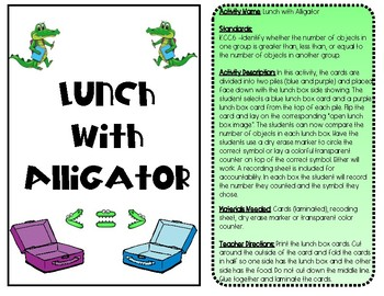 Lunch with Alligator K.CC.6 Compare Kindergarten Common Core Math Number Station