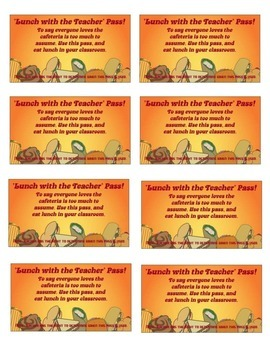 'Lunch with the Teacher Pass'